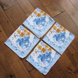 4 Vintage Blue Yellow Flowers Linen Napkins